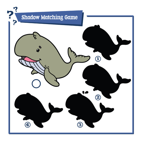 simple fish: illustration of shadow matching game with happy cartoon whale for children Illustration
