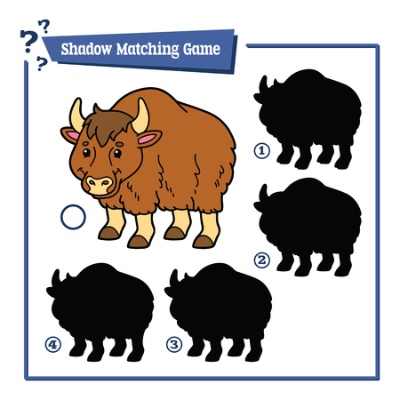 yak: illustration of shadow matching game with happy cartoon yak for children
