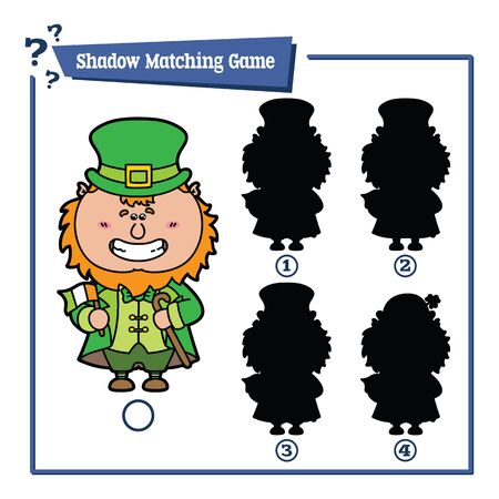 leprechaun hat: illustration of shadow matching game with happy cartoon Leprechaun for children