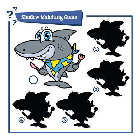 simple fish: illustration of shadow matching game with happy cartoon shark for children
