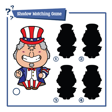 sam: illustration of shadow matching game with happy cartoon Uncle Sam for children Illustration