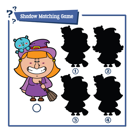 czarownica: illustration of shadow matching game with happy cartoon Witch for children