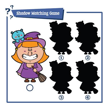 bruja: ilustraci�n de la sombra juego de correspondencias con la bruja de dibujos animados feliz para los ni�os Vectores