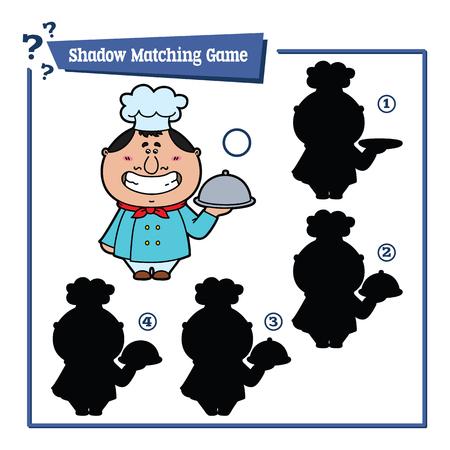 chef cocinando: un juego divertido del cocinero sombra. ilustraci�n vectorial de sombra juego de correspondencias con el cocinero feliz de dibujos animados para los ni�os