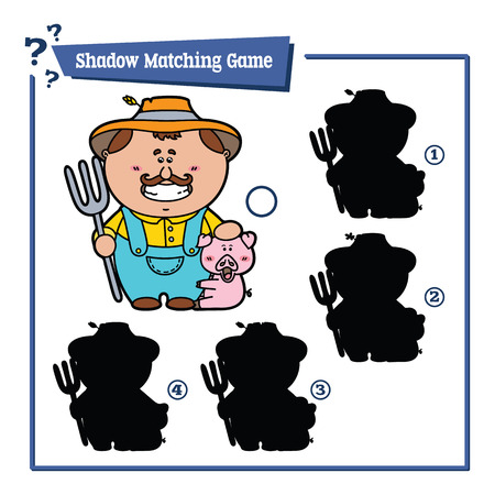 cartoon work: funny shadow farmer game. Vector illustration of shadow matching game with happy cartoon farmer for children