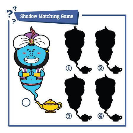 genio de la lampara: divertido sombra Genie juego. ilustraci�n vectorial de sombra juego de correspondencias con genio feliz de dibujos animados para los ni�os