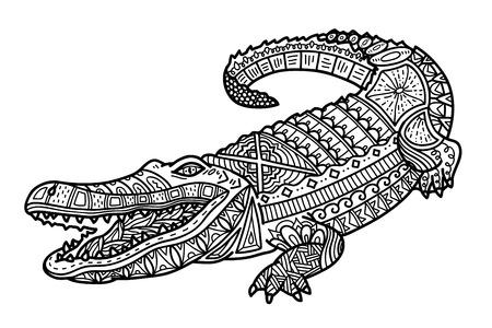 dessin au trait: Crocodile mignon. Vector illustration de mignon crocodile zentangle fleuri pour les enfants ou pour les anti-stress adulte livre de coloriage