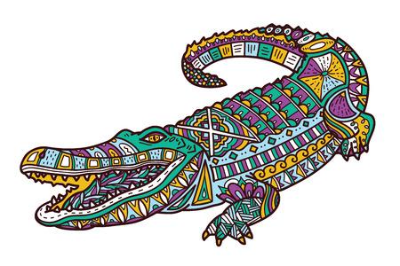 anti stress: Cute crocodile. Vector illustration of cute ornate zentangle crocodile for children or for adult anti stress coloring book