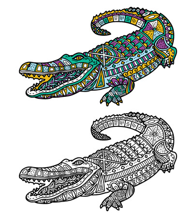 Cute crocodile. Vector illustration of cute ornate  crocodile for children or for adult anti stress coloring book