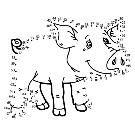 school baby: dot to dot pig game. illustration of dot to dot puzzle with happy cartoon pig for children
