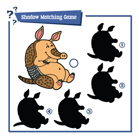 zoo: funny shadow armadillo game. illustration of shadow matching game with happy cartoon armadillo for children
