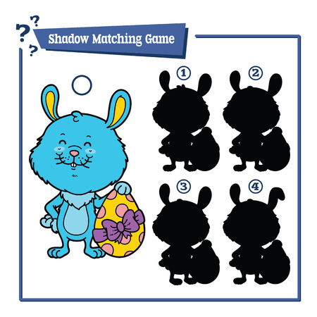 siluetas de animales: funny shadow Easter bunny game. illustration of shadow matching game with happy cartoon Easter bunny for children