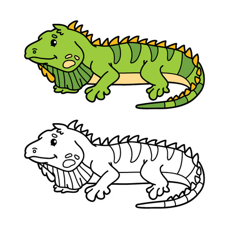 scrap book: funny iguana. illustration coloring page of happy cartoon iguana for children, coloring and scrap book Illustration