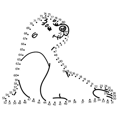 school baby: dot to dot seal game. illustration of dot to dot puzzle with happy cartoon seal for children Illustration
