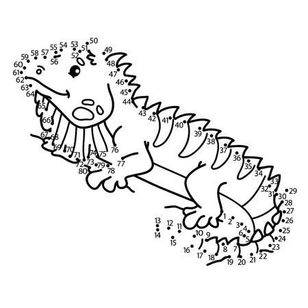cartoon animal: dot to dot iguana game. illustration of dot to dot puzzle with happy cartoon iguana for children