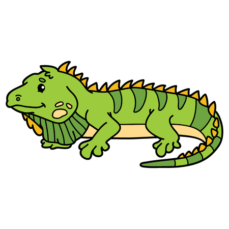 Cute iguana. illustration of cute cartoon iguana character for children and scrap book
