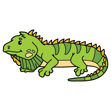 scrap book: Cute iguana. illustration of cute cartoon iguana character for children and scrap book