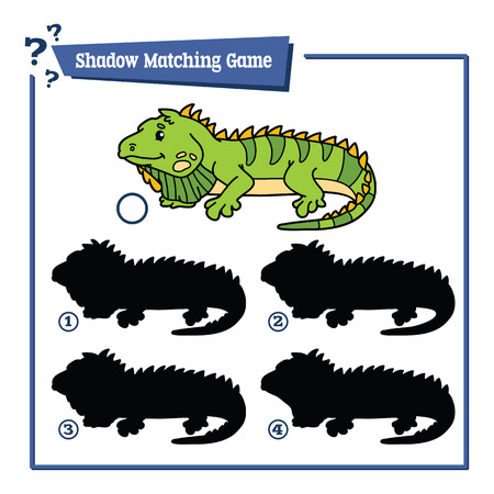 jaszczurka: funny shadow iguana game. illustration of shadow matching game with happy cartoon iguana for children