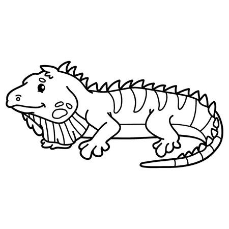 Iguana Divertida. La Página De Ilustraciones Para Colorear De La ...