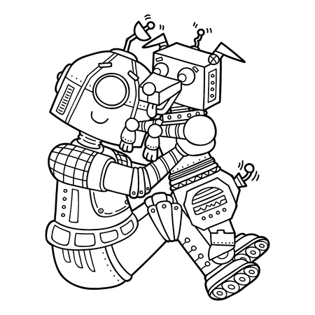 scrap book: Cute robots. Vector illustration of cute cartoon robot character with dog for children, coloring and scrap book