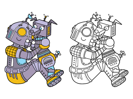 scrap book: funny robots. Vector illustration coloring page of happy cartoon robot for children, coloring and scrap book