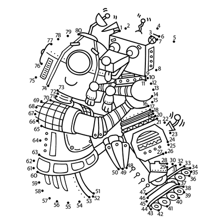 puppy dog: dot to dot robot game. Vector illustration of dot to dot puzzle with happy cartoon robot for children