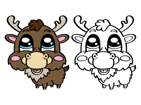 scrap book: funny deer. Vector illustration coloring page of happy cartoon deer for children, coloring and scrap book