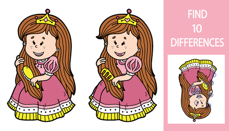 find: Find differences princess game. Vector illustration of finding differences educational game with cute cartoon princess for children Illustration