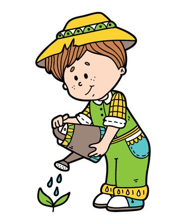 jardinier mignon. Vector illustration de caractère de jardinier mignon de bande dessinée