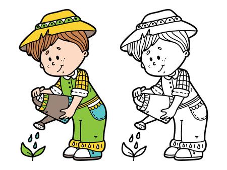 scrap book: cute gardener. Vector illustration coloring page of happy cartoon gardener for children and scrap book