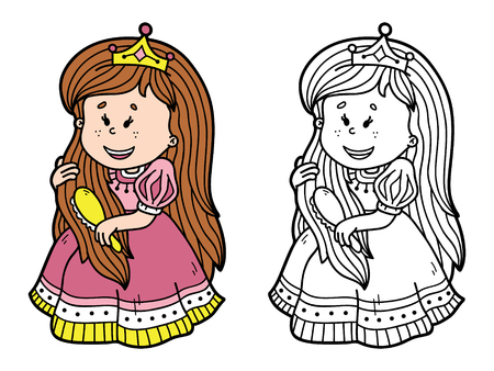 scrap book: cute princess. Vector illustration coloring page of happy cartoon princess for children and scrap book