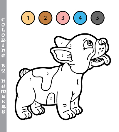 puppy cartoon: funny puppy coloring game. Vector illustration coloring by numbers game of happy cartoon puppy for kids