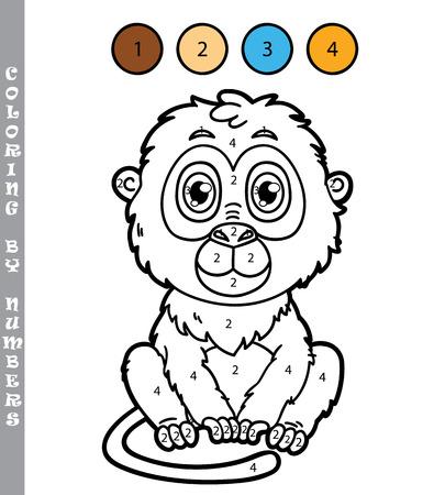 Mono Divertido. Vector Ilustración De La Página Para Colorear De ...