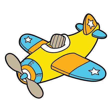 avion caricatura: Plano de la historieta. Ilustraci�n del vector del avi�n de dibujos animados lindo para los ni�os y �lbum de recortes