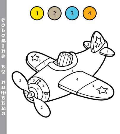 avion caricatura: divertido juego de colorear avi�n. ilustraci�n vectorial para colorear por n�meros juego del avi�n de la historieta para los ni�os