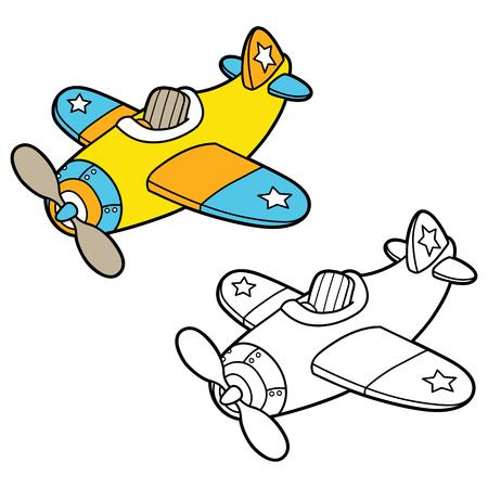 avion caricatura: Colorear llano. ilustraci�n vectorial para colorear p�gina del avi�n de dibujos animados para ni�os, colorear y �lbum de recortes