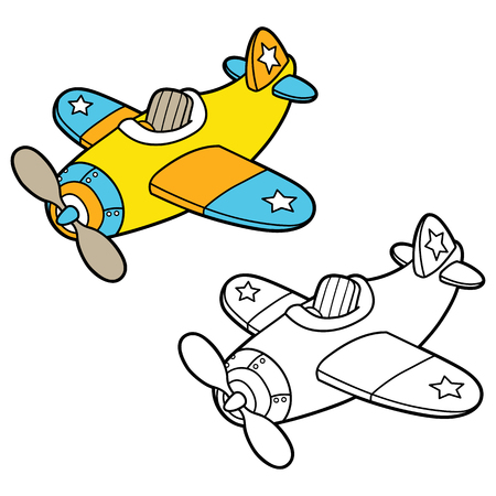scrap book: plain coloring page . Vector illustration coloring page of  cartoon plane for children, coloring and scrap book