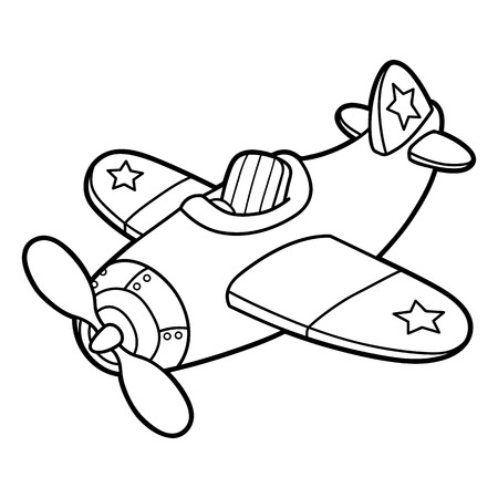 planes: Cute plane outline. Vector illustration of cute cartoon plane without pilot for children, coloring and scrap book