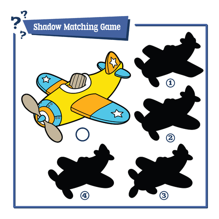 shapes cartoon: funny shadow plane game. Vector illustration of shadow matching game with cartoon plane for children