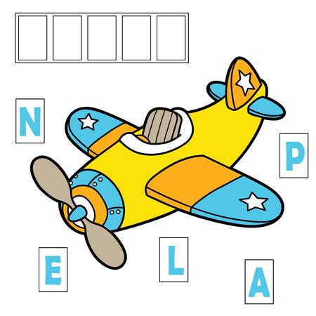 avion caricatura: deletrear juego de aprendizaje. Ilustraci�n del vector del juego de hechizo con el plano de dibujos animados para los ni�os