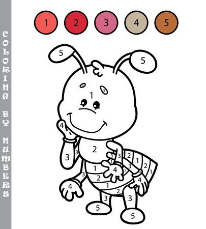 hormiga caricatura: colorear por números divertido juego. ilustración vectorial para colorear por números juego de la historieta hormiga para los niños