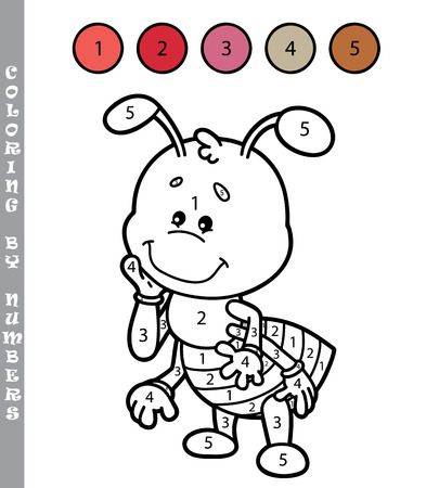 funny coloring by numbers game. Vector illustration coloring by numbers game of cartoon ant for kids
