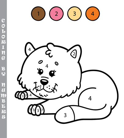 kitten cartoon: funny coloring by numbers game. Vector illustration coloring by numbers game of cartoon kitten for kids