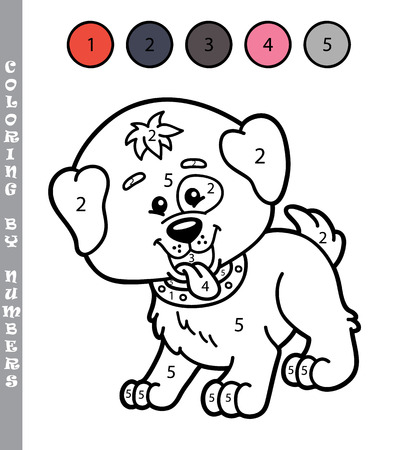 puppy cartoon: funny coloring by numbers game. Vector illustration coloring by numbers game of cartoon puppy for kids