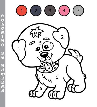 grappig kleuren door nummers spel. Vector illustratie kleuren door nummers spel van de cartoon puppy voor kinderen