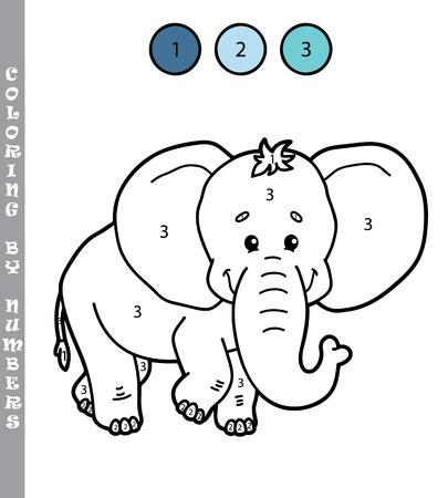 Lustige Färbung Durch Spiel Mit Zahlen. Vektor-Illustration Färbung ...
