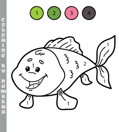 outline fish: funny coloring by numbers game. Vector illustration coloring by numbers game of cartoon fish for kids Illustration