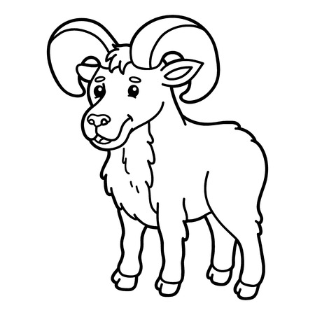 scrap book: Cute urial. Vector illustration of cute cartoon urial character for children, coloring and scrap book Illustration