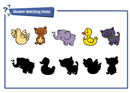 bear silhouette: funny shadow animal game. Vector illustration of shadow matching game with happy cartoon animals for children