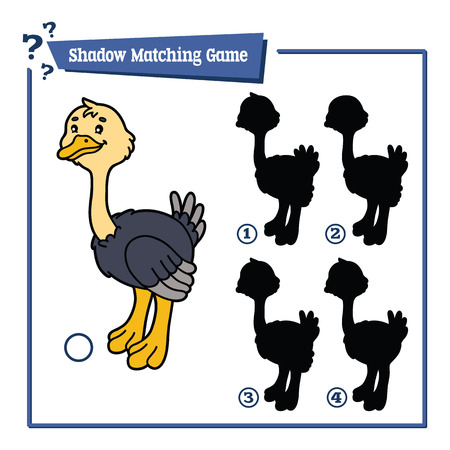 kids fun: funny shadow ostrich game. Vector illustration of shadow matching game with happy cartoon ostrich for children Illustration
